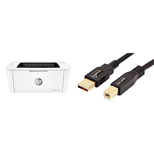 HP Laserjet Pro M15w Laserdrucker (Schwarzweiß Drucker, WLAN, Airprint) weiß & AmazonBasics USB 2.0-Druckerkabel A-Stecker auf B-Stecker, 3 m