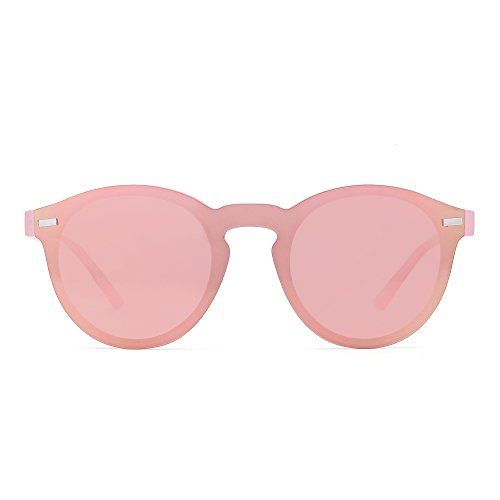 JIM HALO Polarisiert Randlos Sonnenbrille Reflektierend Ein Stück Runde Gespiegelte Brillen Zum Damen Herren(Transparent Rosa/Rosa/Pink)