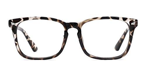 74d2f576ba0 TIJN Gafas Transparentes Retro Anteojos Lente Claro Gafas Para Mujer y  Hombre (Leopardo)