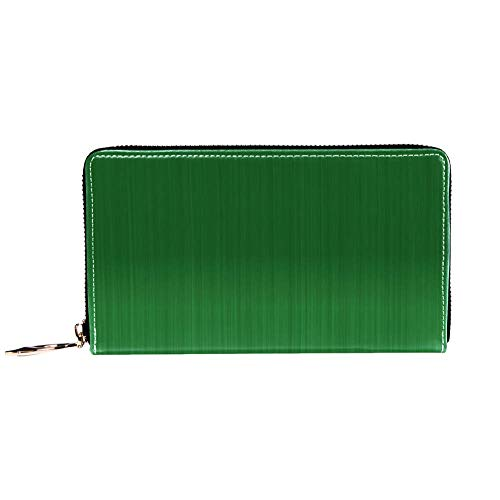 Blocking Leather Wallets for Women and Men & Girls Passport Wallet Bifold Multi Card Case Genuine Leather Wallet with Zipper Pocket Organizer Ladies Purse Green Classic 11.6x1x4.3inch -