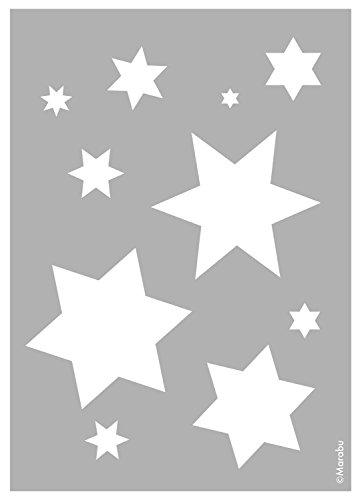 Marabu 0283000000020 - Schablone, lasergeschnittene, strapazierfähige Schablone, PVC frei, zur Anwendung auf Wänden, Möbeln und Textilien, wieder verwendbar, DIN A4, Starlets - Stern-schablonen