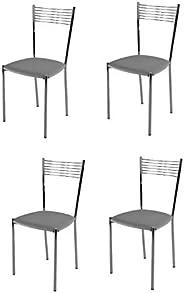 Tommychairs - Set 4 sedie modello Elegance per cucina bar e sala da pranzo, struttura in acciaio cromato e sed