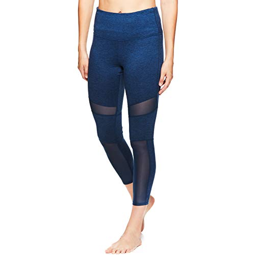 gaiam Damen Om High Rise Waist Yoga Pants - Performance Spandex Kompressionsleggings - Blau - X-Klein -