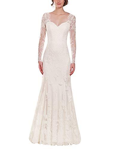 SongSurpriseMall Damen Spitze Brautkleider Langarm Hochzeitskleid Mermaid V-Ausschnitt Brautmode...