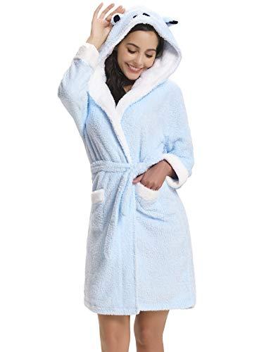 Aibrou Damen Bademantel aus Plüsch mit Kapuze, weich, warm, Fleece, mit Taschen - Blau - X-Large