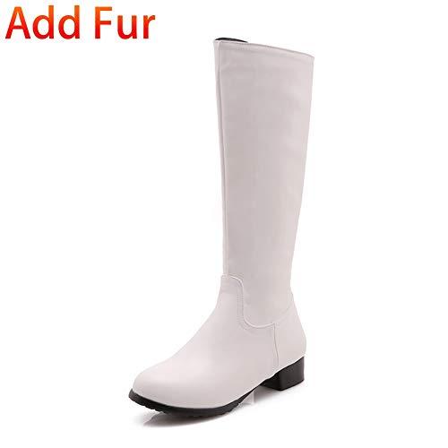 HOESCZS 2018 Große Größen 32-47 Hinzufügen Pelz Damenschuhe Frau Reitstiefel Mode Komfort Winter Kniehohe Stiefel Frau Schuhe,Weißes Fell hinzufügen,47