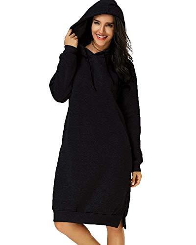 Eshal Damen Hoodies Jumper Warme Strickjacke Lange Tops Mantel Pullover Sweatshirt Lose Lässige Maxi Kleid (X-Large, Schwarz)