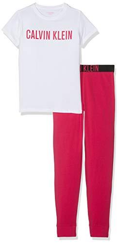 Calvin Klein Mädchen Knit PJ Set (SS+Cuffed Pant) Zweiteiliger Schlafanzug, Weiß (1White/1Jazzy 121), 152 (Herstellergröße: 12-14)