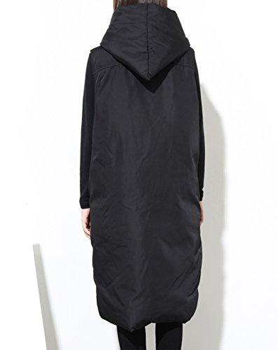 ELLAZHU Damen Winter Ärmellos Knopf Taschen Hooded Innenbaumwolle Gesteppt Weste GY1036 GY1036 Schwarz