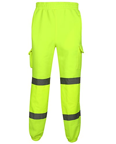 Price comparison product image HuntaDeal Hi Viz Vis Pants Joggers Trouser / Fleece Fabric High Visibility Reflective Safety Trade Cargo Pants / Multi Pocket Combat Work Wear / Work Bottoms / EN ISO 20471 (3XL / XXXL,  Yellow)