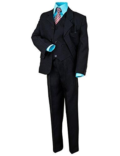 6 tlg. Schwarzer Jungen Anzug mit 2 Hemden, Weiss u. Türkis Rosa oder Pink (14 / 152 / 164, #18tü Türkis)