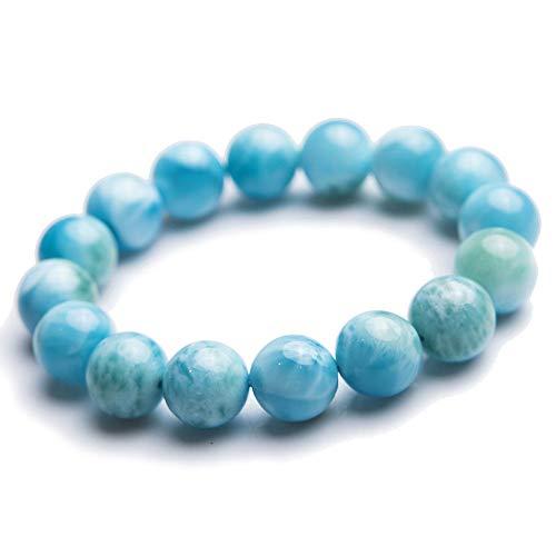 Guojiahao Natürliche Blaue Larimar Edelstein Runde Perlen Wasser Muster Armband (Larimar-schmuck)