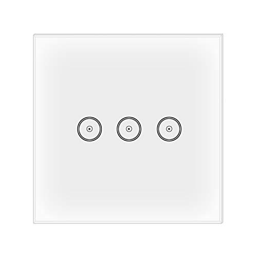 jinvoo Smart WLAN Smart Wandleuchte Schalter, kein Hub erforderlich, Smart Timing Switch, Touch-Lichtschalter, Fernbedienung Ihre Geräte von überall, kompatibel mit iOS und Android, funktioniert mit Alexa Echo und Google Assistant (Wand Switch 3Gang UK)