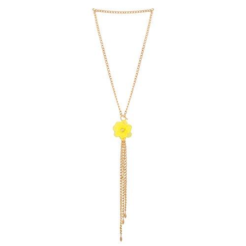 Blume Halskette New Fashion einfachen gesäumten Kostüm Ornamente KC Golden, gelb