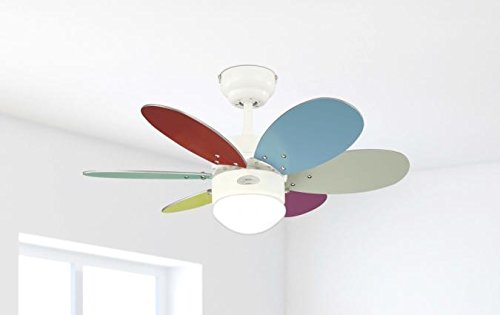 31V99WKP8dL - Westinghouse Ceiling Fans 78673 Turbo II One-Light 76 cm Six-Blade Indoor Ceiling Fan, White Finish with Opal Frosted…