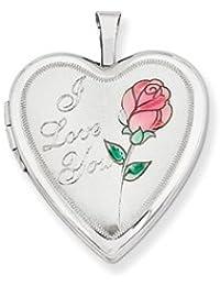 14K 20mm White Gold Enamel Rose I Love You Heart Locket by UKGems