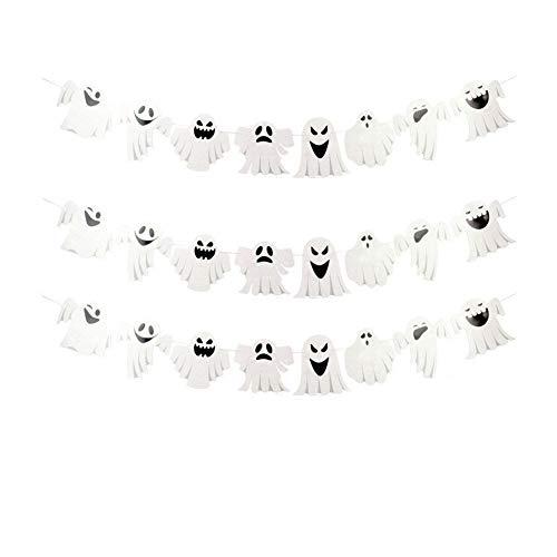Dekoration Happy Halloween Banner für Halloween Party hängende Dekoration (Glitter White Ghost) 1 Stück ()