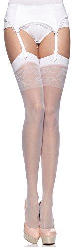 Merry style donna calze autoreggenti calze sposa ms 194 20 den (bianco, s-m)