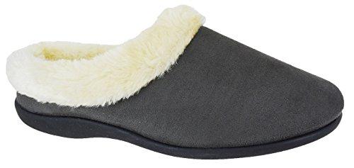Pantoufles pour femmes mules à enfiler hiver pour femmes CONFORT CHAUDE plat Bottines Montantes Taille Gris