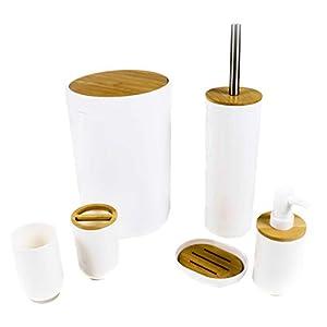 Alpina! Badezimmer- und Toiletten-Set, 6 Teile u.a. mit Zahnputzbecher, Seifenspender, Seifenschale, Abfallbehälter, Toiletten-Bürste mit Halter, Kunststoff und Bambus