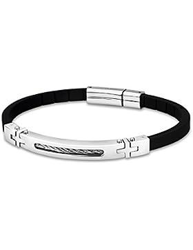 LOTUS Style Herren Armband Men Basic-Kollektion Edelstahl schwarz silber JLS1641-2-1