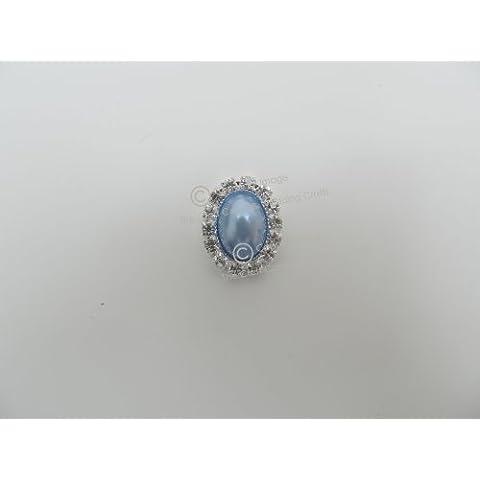 Marmitek x10-Pearl & ovale con strass decorativi, con strass, colore: blu: Grappolo di grado A