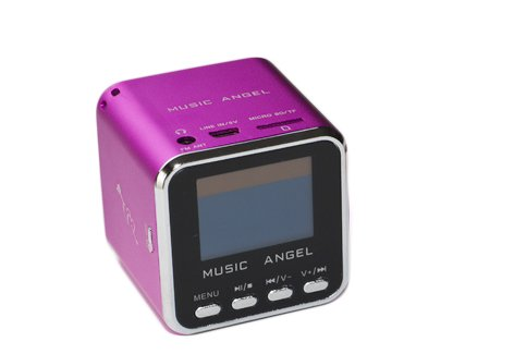 BLUEBD@ MUSIC ANGEL (Original) -pink-tragbarer mini Stereo Lautsprecher / Boxen / Soundstation / Lautsprechersystem mit eingebautem Radio, Wecker, Uhr, USB-Slot, Micro-SD Kartenslot Stereo-docking-system