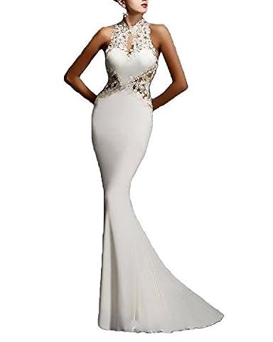 Minetom Damen Sommer Elegant Spitze Sexy Hohe Taile Ärmellos Lang Festlich Fishtail Kleid Party Bar Abendkleid Cocktailkleid Dress Skirt Weiß DE