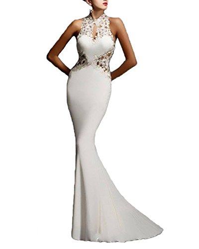 Minetom Damen Sommer Elegant Spitze Sexy Hohe Taile Ärmellos Lang Festlich Fishtail Kleid Party Bar Abendkleid Cocktailkleid Dress Skirt Weiß DE 38 (Elegante Momente, Mini-kleid)