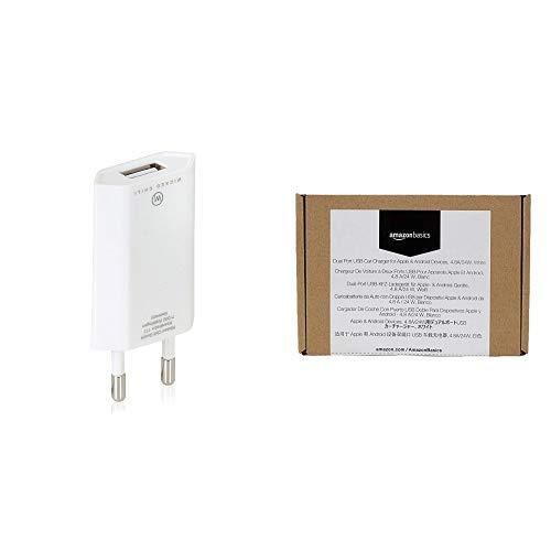 Wicked Chili Pro Series Netzteil - Ultra Slim - USB Adapter für Apple iPhone weiß & AmazonBasics - Kfz-Ladegerät für Apple- & Android-Geräte, USB-Anschluss: 2 Eingänge, 4,8Ampere/24W, Weiß (Amazon 6 Iphone Ladegerät Steckdose)