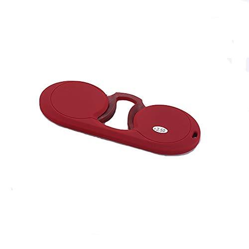 HHCC Tragbare Lesebrille, Leseoptik Mini Ultraleicht Nasenklammer Armlose Brille & Brillenglas mit klarer Sicht für Mode für Männer und Frauen,Red,+3.00