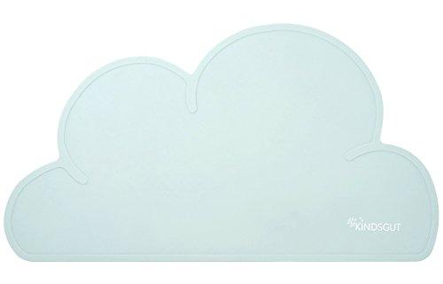 Kindsgut Set de table enfant en silicone étanche et antidérapant en forme de nuage, vert d'eau