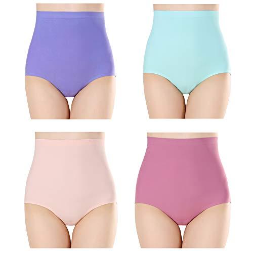 Closecret Damen Multipack Nahtlose Ice Silk Unterwäsche Hohe Taille Full Coverage Bauch Control Slip - Mehrfarbig - Klein