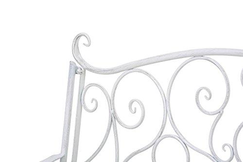 CLP Metall Gartenbank TUAN, 2-er Sitz-Bank Garten, Eisen lackiert, Design nostalgisch antik, 105 x 50 cm Antik Weiß - 4