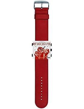 S.T.A.M.P.S. Stamps Uhr KOMPLETT - Zifferblatt Hands up mit Lederarmband classic rot