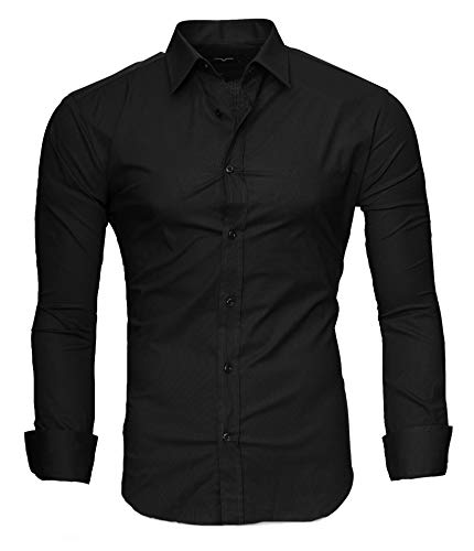 extra slim fit hemden Kayhan Herren Hemd, TwoFace als Uni Schwarz XL