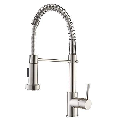 Pop Wasserhahn Küche Mischbatterien für Küchen Armatur Einhandmischer für Küchen Spüle mit Brause Ausziehbar Gebürstetes Nickel