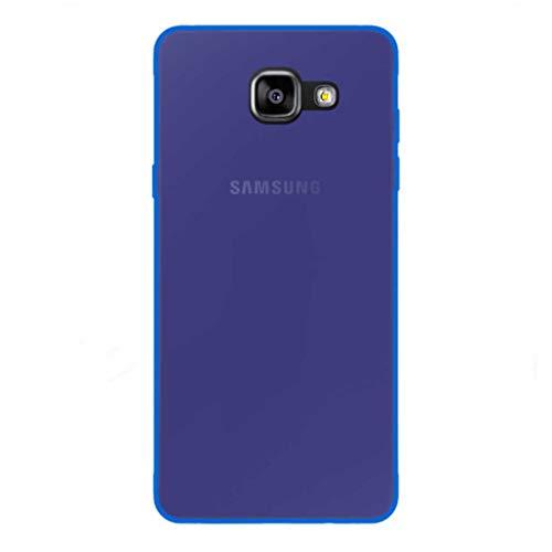 Todo Phone Store Pack x2 [1 Vetro Standard + 1 Custodia Cover Liscia] - 1 Proteggi Schermo Antiurto Vetro Temperato 9H + 1 Custodia Cover Silicone Gel TPU Blu per Samsung A5 (2016) A510F