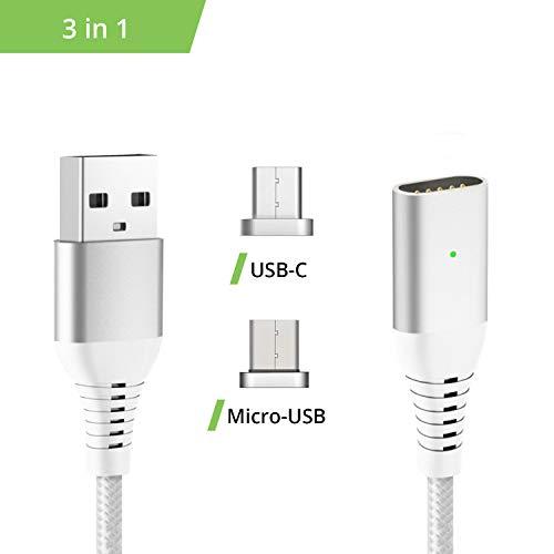 Liamoo 3en1 Câble Magnétique USB Chargeur -Argent- avec 2 adaptateurs -Câble de Chargement et de Transfert de données - Charge Rapide