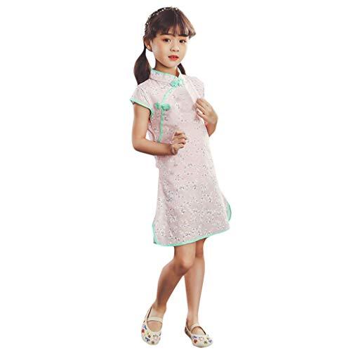 Livoral Mädchen Party Prinzessin Kleid Kleinkind Baby Kinder Cheongsam Blumenkleid(Rosa-2,110)