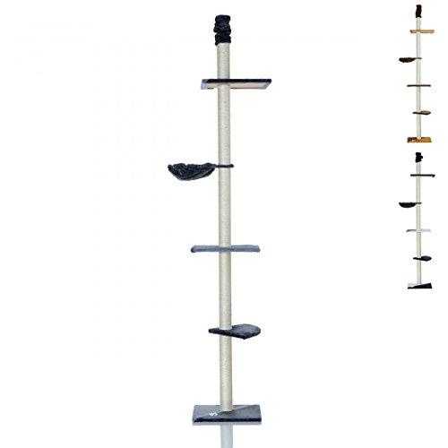 LCP XXL Katzen Kratzbaum Kletterbaum deckenhoch groß | 240-270 cm Höhe | 8 cm Dicke Sisal Säulen; Grau