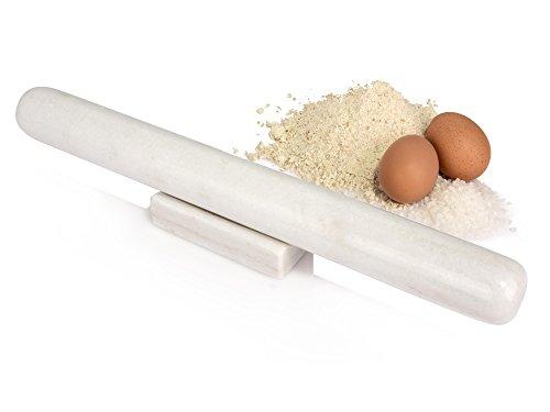 Sänger Fondantrolle aus Marmor in Weiß | Maße Nudelholz - Länge 39 cm mit 4 cm Ø | Teigroller mit Ablage aus weißem Marmor | Auch perfekt geeignet als Teigwalze