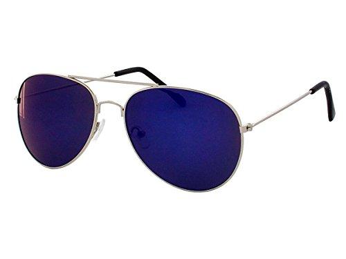 70er 80er Jahre Retro Sonnenbrille Pornobrille Piloten brille Viper Sonnenbrillen V-705bs, Modell:silber/blau