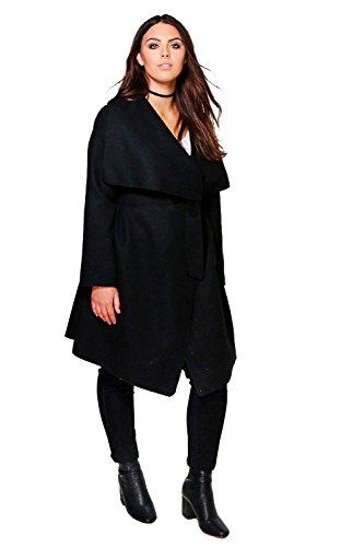 Femmes Noir Plus Rosie Manteau Cache-cœur Effet Laine Noir