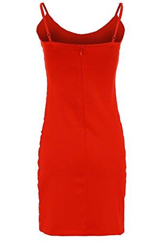 SAPHIR Femmes Caraco Sangle Réglable Maille Sequin Contraste doublé femmes Robe Moulante Rouge / argent