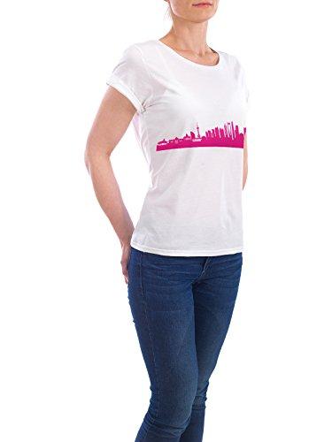 """Design T-Shirt Frauen Earth Positive """"Shanghai 04 Pink Skyline Print monochrome"""" - stylisches Shirt Abstrakt Städte Städte / Shanghai Architektur von 44spaces Weiß"""