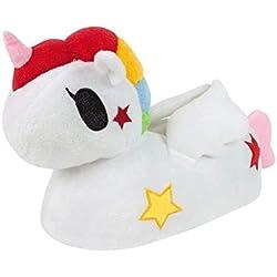 Tokidoki - Pantuflas/Zapatillas de Estar por casa diseño Unicornio en 3D para niños y niñas (36-37 EU/Blanco)