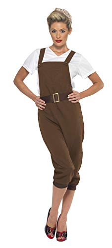 Smiffys Damen Zweiter WK Land Mädchen Kostüm, Oberteil, Latzhose und Kopftuch, Größe: 48-50, (Damen Land Mädchen Kostüm)