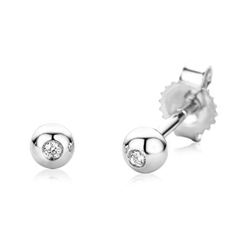 Miore Orecchini Donna Solitario  Piccoli a  Lobo  Diamanti taglio Brillante ct 0.01   Oro Bianco 18 Kt / 750