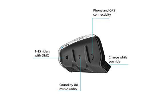 Cardo PTS00001 PACKTALK Slim Motorrad Kommunikations- und Unterhaltungssystem mit natürlicher Sprachbedienung, Sound von JBL, Connect 2 bis 15 Fahrer (Einzelpackung), Schwarz - 2